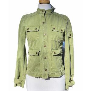 J. Crew Light Green Raw Hem Moto Jacket